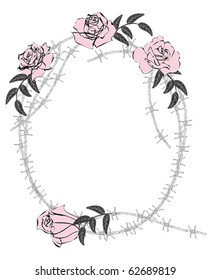 vector frame with roses and barbed wire