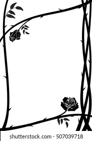 vector frame with roses thorny branch in black and white