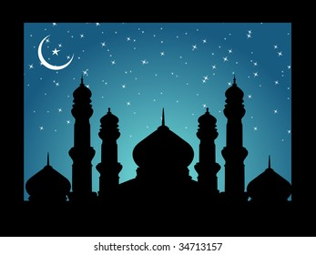 vector frame with silhouette of mosques on moon night background, illustration