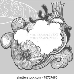 vector frame with a single peony and abstract waves