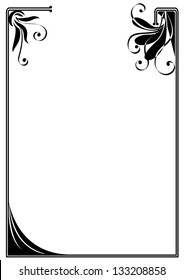 vector frame with stylized flowers in black and white colors