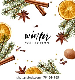 Vector frame template. Fir branches, dry orange slice, cinnamon stick, nutmeg, cloves, anise. Realistic illustration style. Seasonal winter wallpaper.