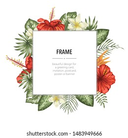 Vector frame template with tropical leaves and flowers with white place for text. Square layout card with place for text. Spring or summer design for invitation, wedding, party, promo events.