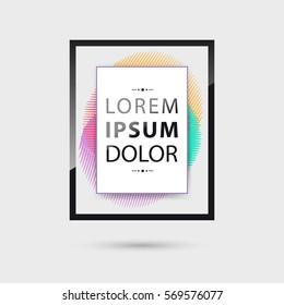 Vector frame for text with colorful graphic elements