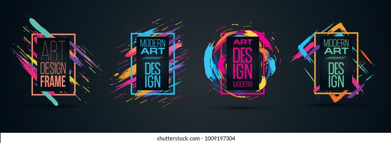 Vector frame for text Modern Art graphics for hipsters . dynamic frame stylish geometric black background. element for design business cards, invitations, gift cards, flyers and brochures vector