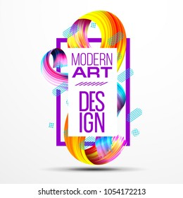 Vector frame for text Modern Art graphics for hipsters . vector realistic isolated brush strokes 3d . element for design business cards, invitations, gift cards, flyers and brochures