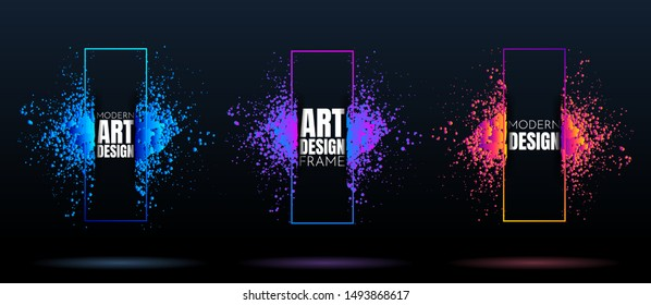 Vector frame for text. Modern Art graphics. Dynamic frame stylish geometric black background. Element for design business cards, invitations, gift cards, flyers and brochures