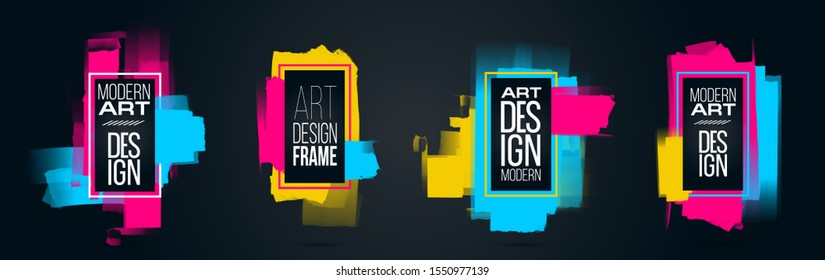 Vector frame for text Modern Art graphics for hipsters . dynamic frame stylish geometric black background. element for design business cards, invitations, gift cards, flyers and brochures