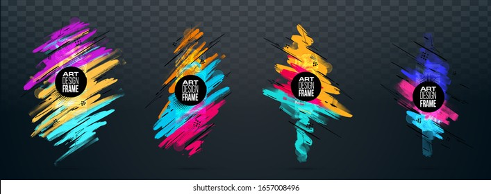 Vector frame for text Modern Art graphics for hipsters . dynamic frame stylish geometric black background. element for design business cards, invitations, gift cards, flyers transparent background