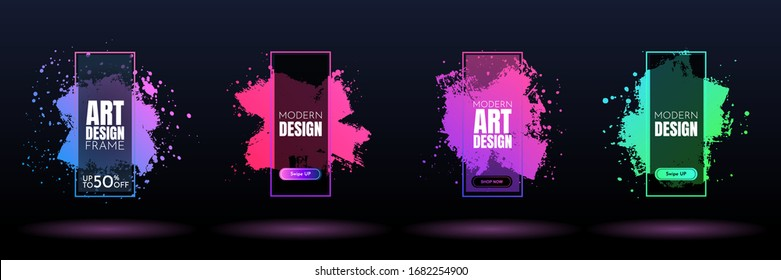 Vector frame for text. Modern Art graphics. Dynamic frame stylish geometric black background. Element for design event invitations, gift cards, flyers, posters, book covers, brochures, banners
