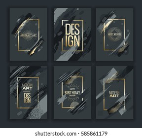 Vector frame for text Modern Art graphics for hipsters . dynamic frame stylish geometric black background with gold. element for design business cards, invitations, gift cards, flyers and brochures.