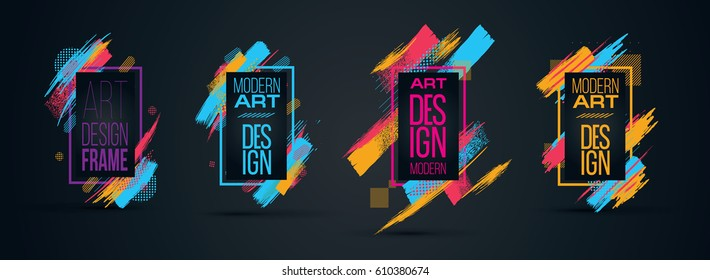 Vector frame for text Modern Art graphics for hipsters . dynamic frame stylish geometric. element for design business cards, invitations, gift cards, flyers and brochures