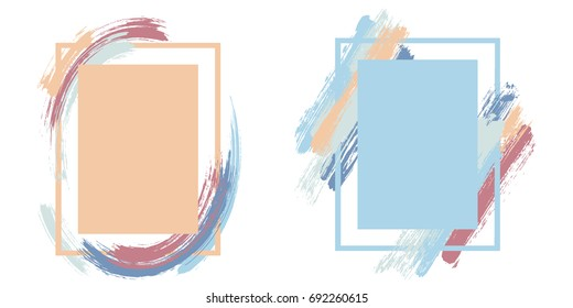 Vector frame for text modern art graphics for hipsters. Dynamic frame stylish geometric background with paint splashes for invitations, gift cards, flyers and brochures design in pastel olors.