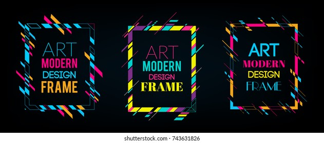 Vector frame for text Modern Art graphics. Dynamic frame with stylish  colorful abstract geometric shapes around it on a black background. Trendy neon color lines in a modern material design style.