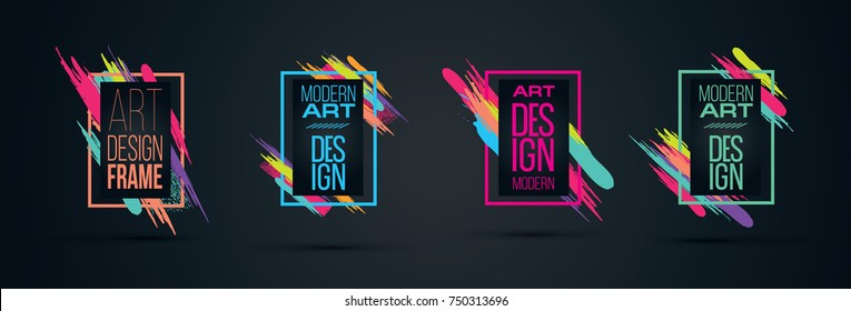 Vector frame for text Modern Art graphics for hipsters . dynamic frame black background with gold. element for design business cards, invitations, gift cards, flyers and brochures. frame set