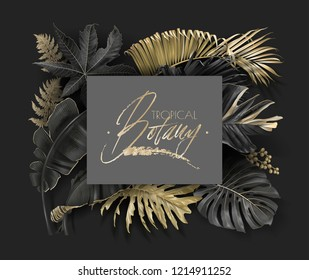 Vector frame with tropical leaves and gold splashes on dark background. Luxury exotic botanical design for cosmetics, spa, perfume, aroma, beauty salon. Best as wedding invitation card