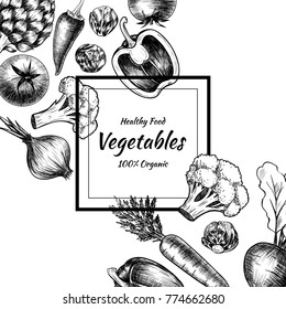Vector frame with vegetables . Hand drawn. Vintage style