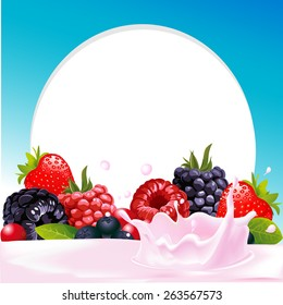 vector frame with wild berry fruit and milk or yogurt splash