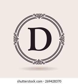 Vector frames design templates. Vintage labels and badges for logos. Alphabet letter D