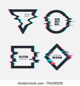 Vector frames with glitch tv distortion effect. Illustration of elements with glitch tv effect screen