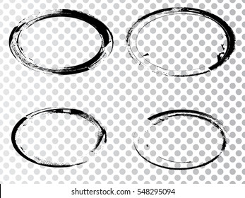 Vector Frames. ovals for image. distress texture . Grunge Black and White borders isolated on the transparent background . Dirt effect .