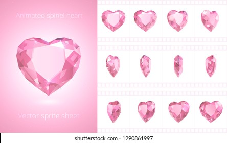 Vector frames of rotating spinel heart. Cute pink crystal Valentine. Symbol of love. Set of 3d realistic icons. 12 frames per second. Looped sequence for GIF, flash, HTML animation. Isolated clipart