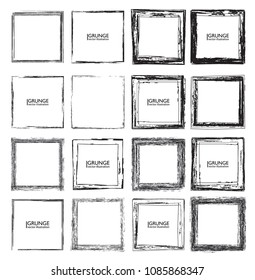 Vector Frames. squares for image. distress texture . Grunge Black borders isolated on the background . Dirt effect . geometric shapes for your design