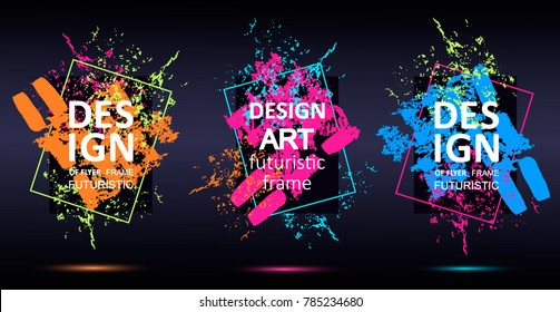 Vector framework for text. Modern graphics for hipsters. abstraction, splashes of paint on the background. an element of design of business cards, invitations, gift cards, leaflets and brochures.