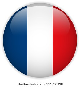 Vector - France Flag Glossy Button