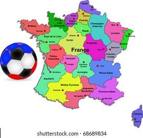 Vector France football map illustration