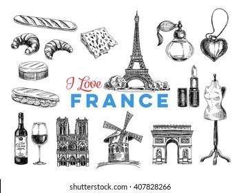 Vector France hand drawn Illustration. Sketch. Vintage style. Retro background.