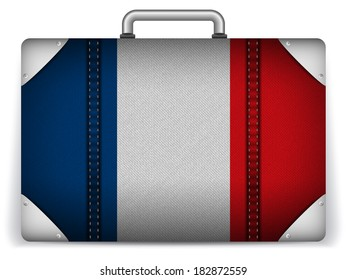 Vector - France Travel Luggage with Flag for Vacation