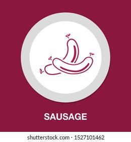 vector frankfurter sausage illustration isolated, grilled hot dog meal sign