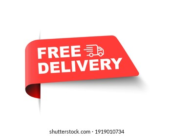 Vector free delivery business sale label tag with truck and text. Free delivery banner ribbon template