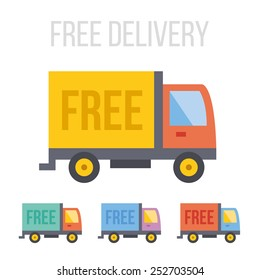 Vector free delivery truck icons.
