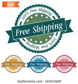Vector: Free shipping sign with colorful set. Eps10.
