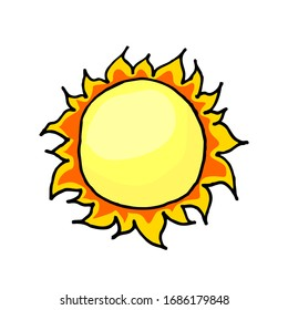 Vector freehand drawing of the sun. Doodle. Color isolated drawing on a white background with an outline.