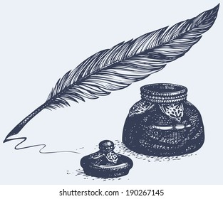 Vector freehand linear monochrome drawing of ancient pen and inkwell