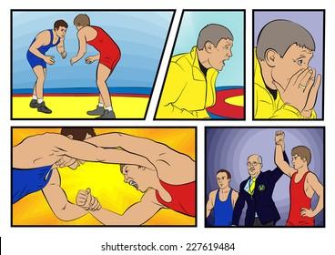Vector freestyle wrestling comics