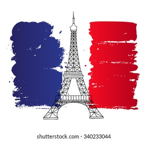 Vector french architecture landmark illustration. Eiffel tower in Paris on the painted France flag background.