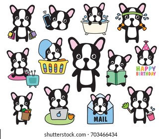 Vector of French Bulldog or Boston Terrier dog activity set including shopping, working out, grocery shopping, working, cleaning, laundry, birthday.