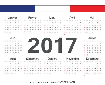 Vector french circle calendar 2017. Week starts from Sunday.