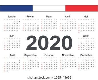 Vector french circle calendar 2020. Week starts from Sunday.