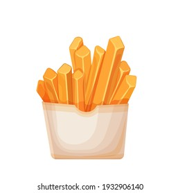Vector french fries in carton package. Icon fast food for street cafe and cinema menu.