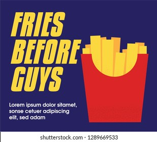 Vector French Fries in Red paper Package Box illustration. Fast Food Concept. Fries Before Guys Template. Grungy Fries Concept