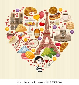 Vector french poster. Sightseeing of Paris and France. Romantic tourist card in vintage style. French cuisine, wine, fashion and culture. Heart shape.