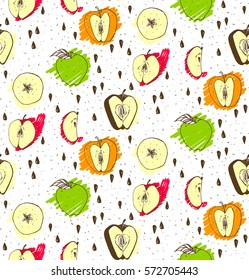 Vector fresh apple seamless pattern for fabric