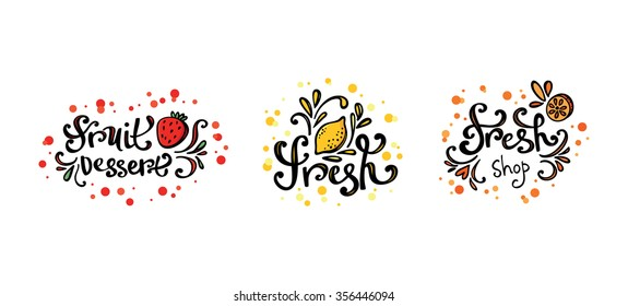 Vector fresh bar logo. Drink, cocktailes, fresh and smoothie label, badge and design element. Lemon fresh, Strawberry dessert