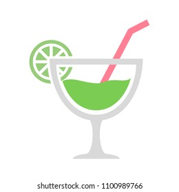 vector fresh juice glass illustration isolated - natural, organic and tropical menu