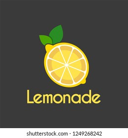 Vector Fresh Lemonade slice logo design template.